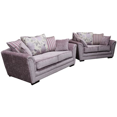 Michigan 3+2 Seater Fabric Sofa Settee Flamenco Crush Dusk