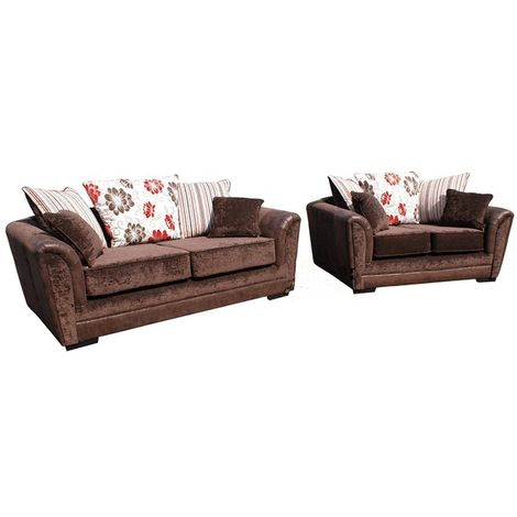 Michigan 3+2 Sofa Summer Ruby Fabric Suite