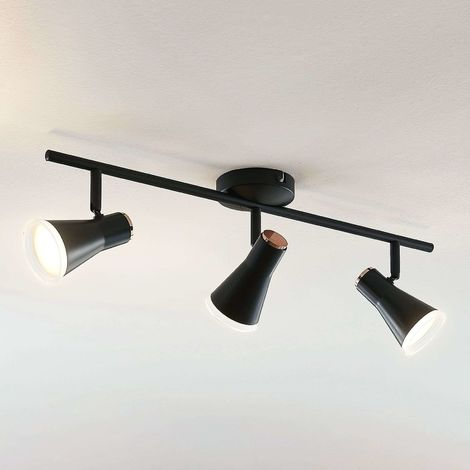 Michiko LED ceiling spotlight, black, 3-bulb