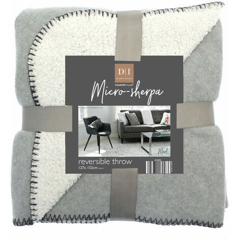 Micro-Sherpa Throw Blankets Reversible Throwover Light Grey Cosy Sherpa