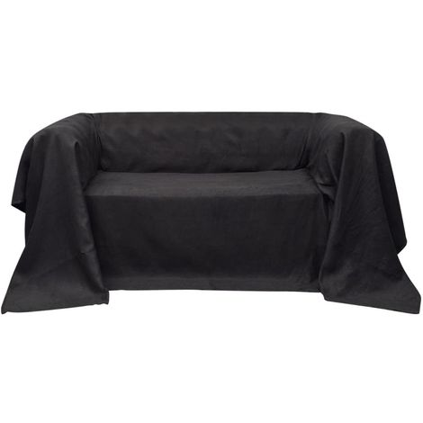 Micro-suede Couch Slipcover Anthracite 140 x 210 cm