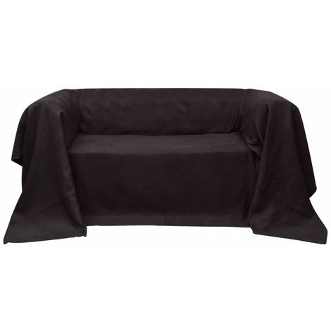 Micro-suede Couch Slipcover Brown 140 x 210 cm