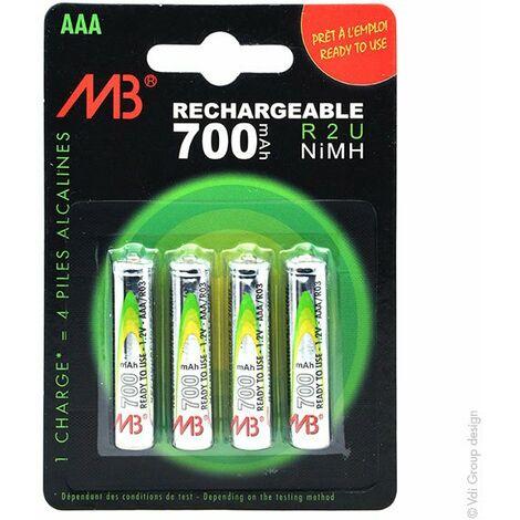 Microbatt - Accus NiMH blister x4 AAA Ready to use 1.2V 700mAh