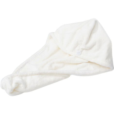 Microfiber Bath Towel Wrap Quick Drying Towel Cap Hat 24 * 60cm off-white