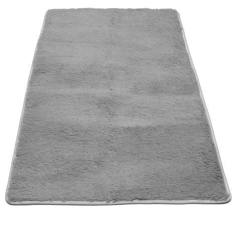 Microfiber Plush Anti-Slip Carpet For Home Black Hasaki