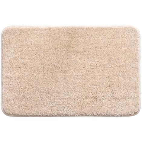 Microfiber Rug Indoor Bathroom Floor Mat Anti-slip Water Absorbent Machine Washable,Light camel