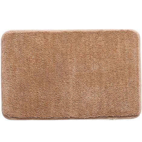 Microfiber Rug Indoor Bathroom Floor Mat Anti-slip Water Absorbent Machine Washable,Red camel