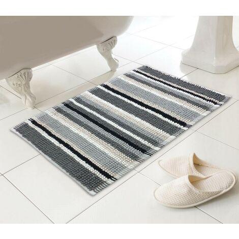 Microfibre Bathmat Bathroom Shower Mat Stripy Soft Absorbent Non-Slip Rug
