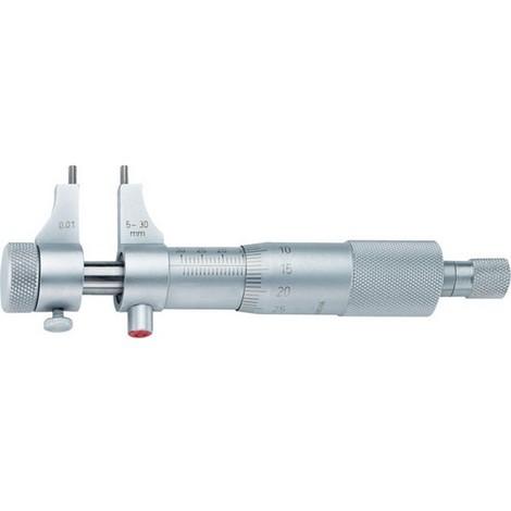 Micromètre intérieur de précision à becs, Plage de mesure : 50-75 mm, Ø du tambour 17,0 mm, Pas de la broche 0,5 mm, Lecture : 0,01 mm