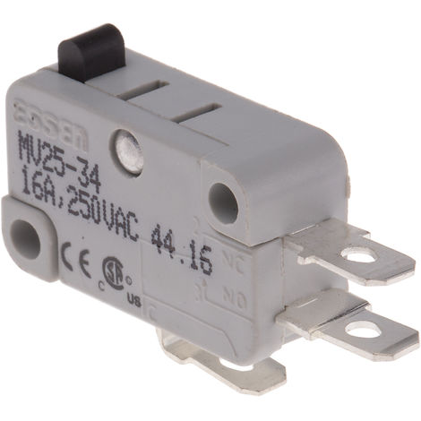 Microrupteur à bouton poussoir, 1RT, 16 A 250V ac