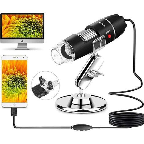Microscope USB Microscope numérique USB 2.0 à 8 LED, mini caméra endoscope à grossissement 40 à 1000x avec adaptateur OTG et Soutienen métal, compatible avec Mac Window 7 8 10 Android Linux de Sunnywoo (Noir 1)