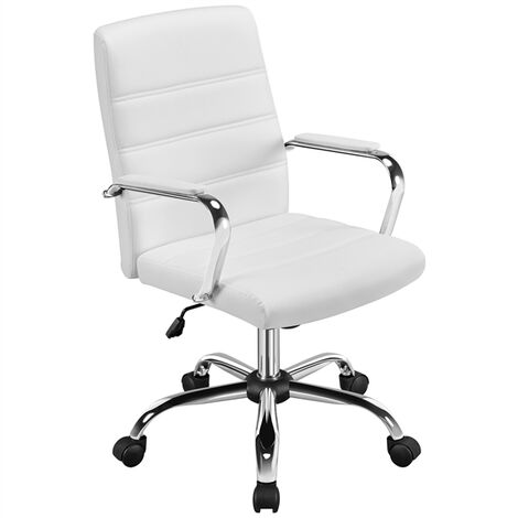 Mid-Back Office Chair with Arms 360¡ã Swivel PU Leather Office Executive Chair Seat Height Adjustable Chrome Plating Steel Base White