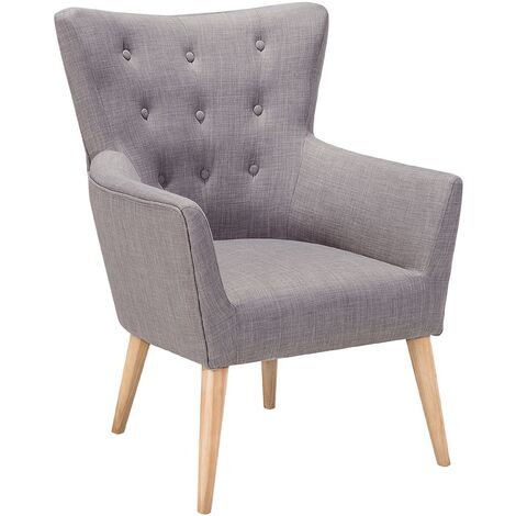 Mid Century Modern Wingback Armchair Buttoned Grey Fabric Polyester Angen