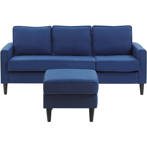 Mid-Century Transitional 3 Seater Navy Blue Fabric Sofa with Ottoman Avesta