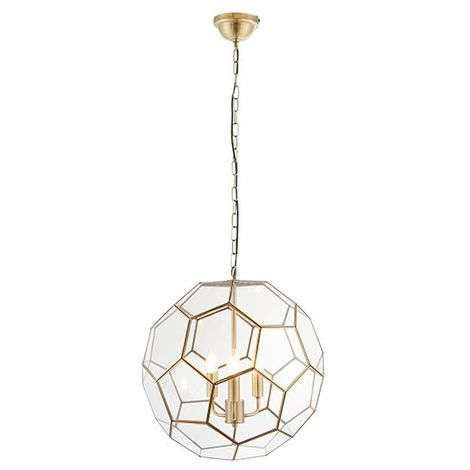 Miele 3Lt Pendant Light Ceiling Light 40W Modern Round Light With Antique Brass