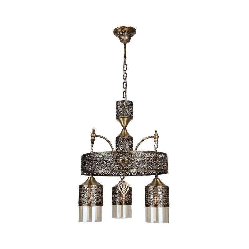 Homemania - Mihrimah Haengelampe - Deckenleuchte - von Wall - Kupfer aus Metall, Glas, 40 x 40 x 94 cm, 3 x E14, 40 W