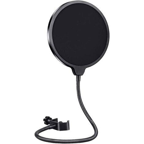 Mikrofon Pop Shield Rundes Windfiltermikrofon mit Halterclip für Blue Yeti, MXL, Audio Technica und andere Mikrofone Windschutz mit flexiblem 360 ° -Hals und verstellbarem Cliparm