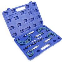 Mikrometer Werkzeug Set 0 - 100 mm Set mit 4 Mikrometer Messgenauigkeit 0,01mm