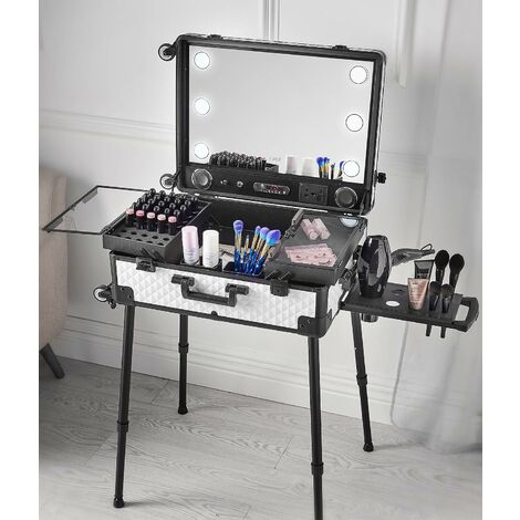 Mila Makeup Trolley Case with LED Light Mirror Hairdryer Holder USB Charger Built In Plug Bluetooth Speaker Black White