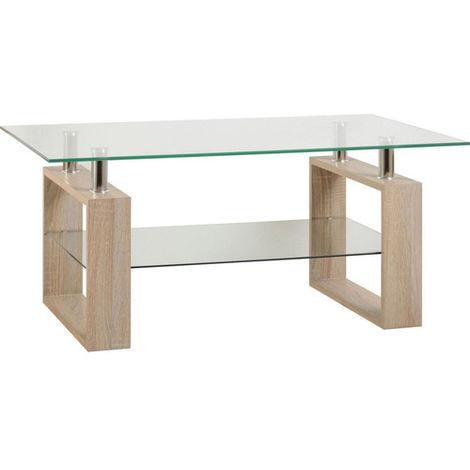 Milan Coffee Table Light Sonoma Oak/glass