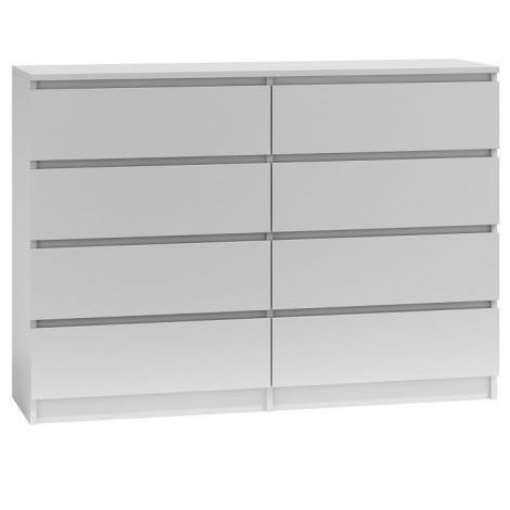 MILAN | Commode contemporaine chambre/salon/bureau 40x138x97 | 8 tiroirs coullissants | Meuble de rangementent | Chiffonier | blanc
