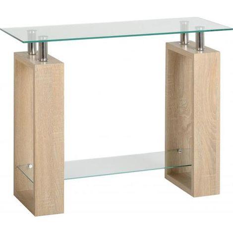 Milan Console Table Light Sonoma Oak/glass