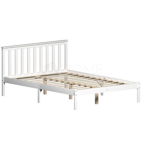 Milan Double Wooden Bed, Low Foot, White