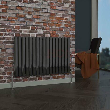 Milan Oval Double Horizontal Radiator, 635 x 1003mm, Black