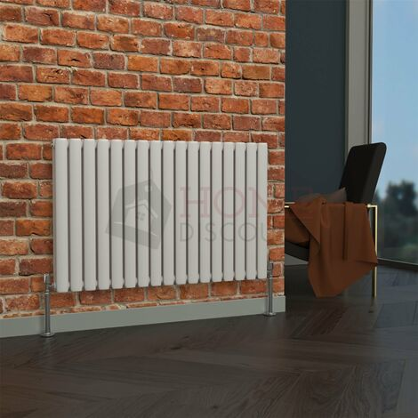 Milan Oval Double Horizontal Radiator, 635 x 1003mm, White
