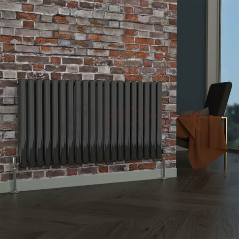 Milan Oval Double Horizontal Radiator, 635 x 1180mm, Black