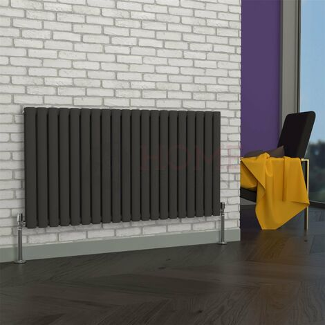 Milan Oval Double Horizontal Radiator, 635 x 1180mm, Grey