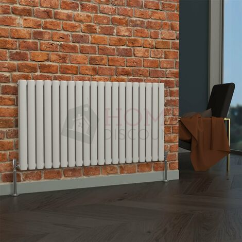 Milan Oval Double Horizontal Radiator, 635 x 1180mm, White