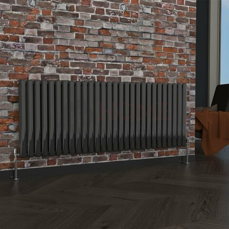 Milan Oval Double Horizontal Radiator, 635 x 1652mm, Black