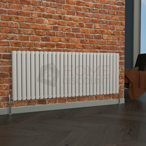 Milan Oval Double Horizontal Radiator, 635 x 1652mm, White