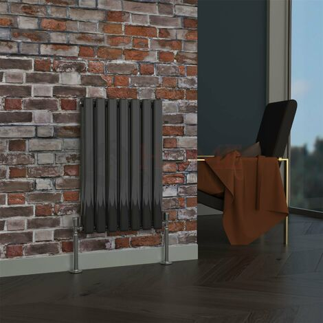 Milan Oval Double Horizontal Radiator, 635 x 413mm, Black