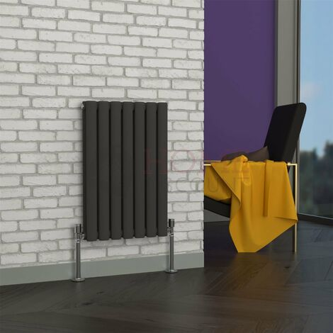 Milan Oval Double Horizontal Radiator, 635 x 413mm, Grey