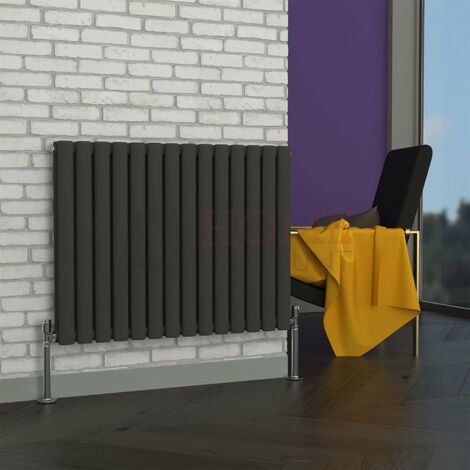 Milan Oval Double Horizontal Radiator, 635 x 826mm, Grey