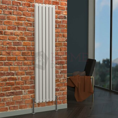 Milan Oval Double Vertical Radiator, 1600 x 354mm, White