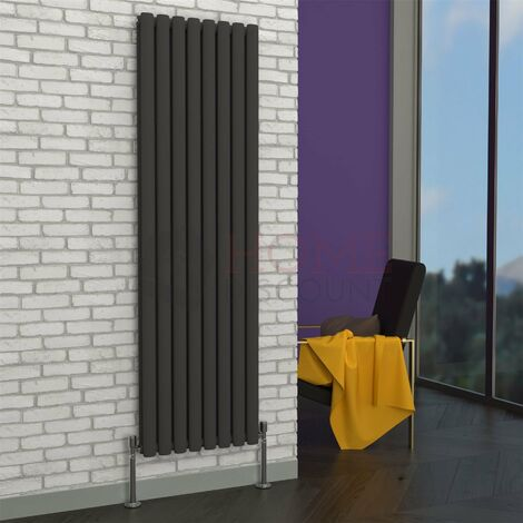 Milan Oval Double Vertical Radiator, 1600 x 472mm, Grey