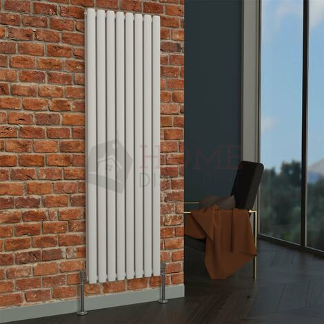 Milan Oval Double Vertical Radiator, 1600 x 472mm, White
