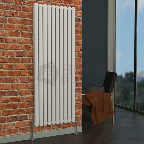 Milan Oval Double Vertical Radiator, 1600 x 590mm, White