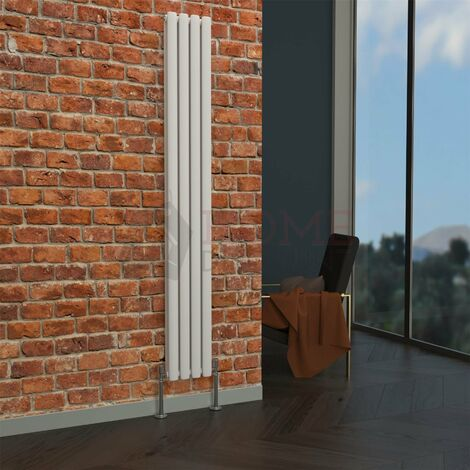 Milan Oval Double Vertical Radiator, 1780 x 236mm, White