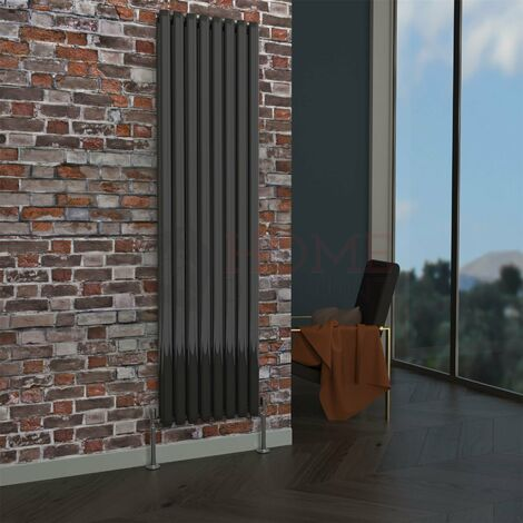 Milan Oval Double Vertical Radiator, 1780 x 472mm, Black