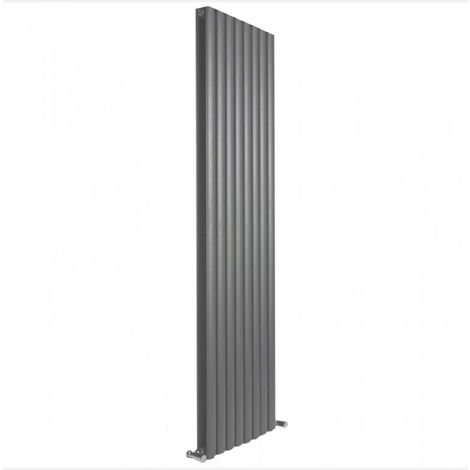 Milan Oval Double Vertical Radiator, 1780 x 472mm, Grey