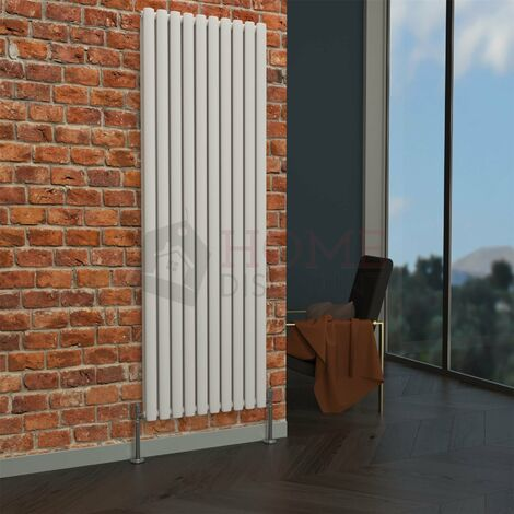 Milan Oval Double Vertical Radiator, 1780 x 590mm, White