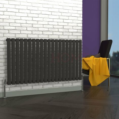 Milan Oval Single Horizontal Radiator, 635 x 1180mm, Grey