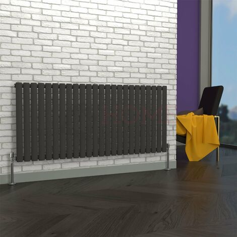 Milan Oval Single Horizontal Radiator, 635 x 1416mm, Grey