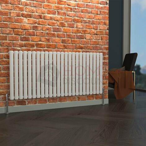 Milan Oval Single Horizontal Radiator, 635 x 1416mm, White
