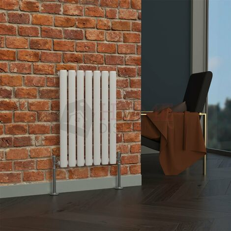 Milan Oval Single Horizontal Radiator, 635 x 413mm, White
