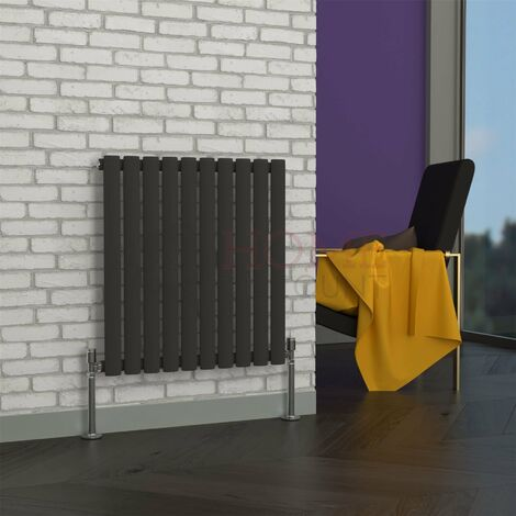Milan Oval Single Horizontal Radiator, 635 x 590mm, Grey